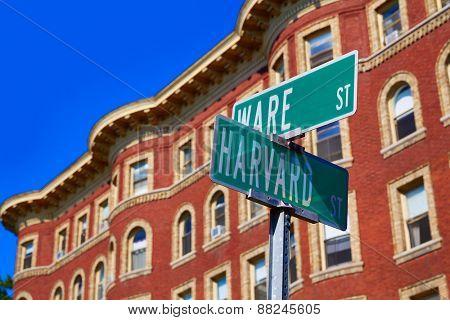 Harvard street st in Cambridge Massachusetts USA