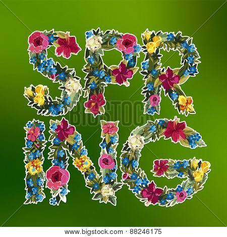 Floral spring lettering background. Flower design.