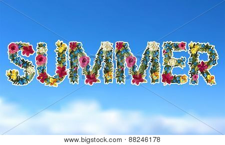 Floral summer lettering background. Flower design.