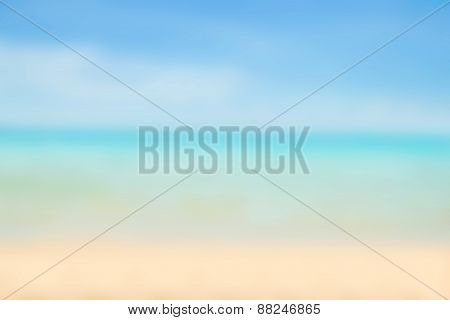 Blurred Nature Background. Sandy Beach Backdrop With Turquoise Water And Bright Sun Light. Summer, H