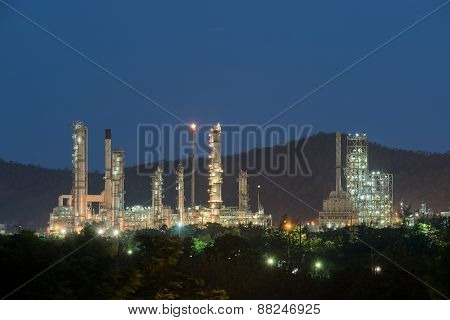 Panorama Of Oil Refinery At Twilight