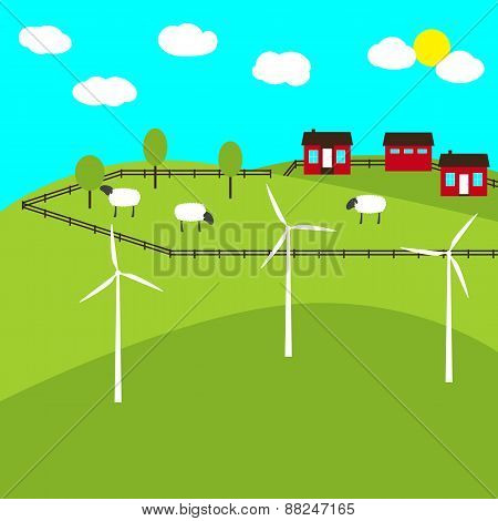 Farm And Windmills