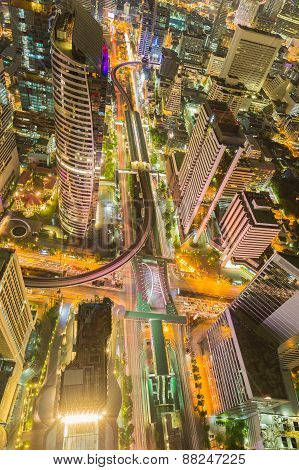 Bird eyes view of Bangkok main traffic intersection at night,