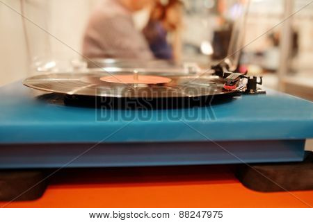 Turntable playing vinyl
