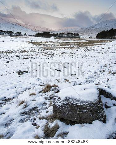 Winter Sunrise Over Mountain Range Landscape