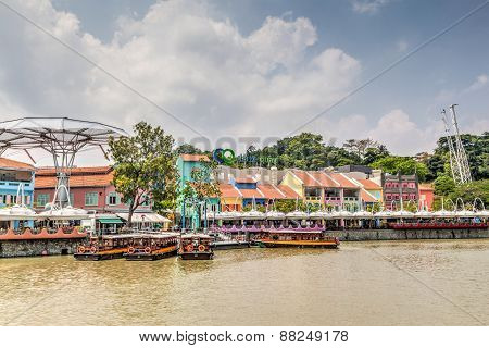 Singapore Landmark: Hdr Of Clarke Quay On Singapore River