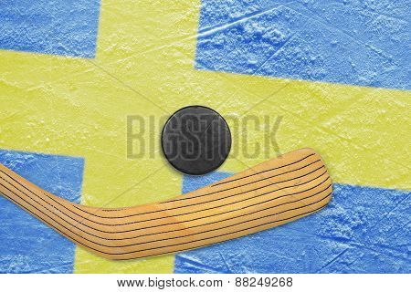 Hockey Puck, Stick And Swedish Flag