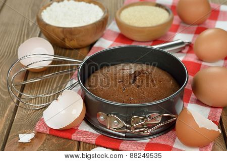 Chocolate Cake And Ingredients For Baking