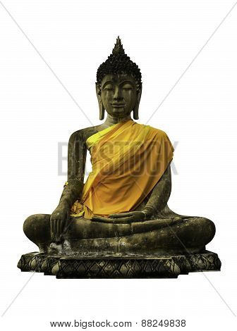 Ancient Ruin Buddha Image Isolated
