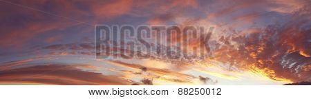 Sunlit clouds in beautiful sky