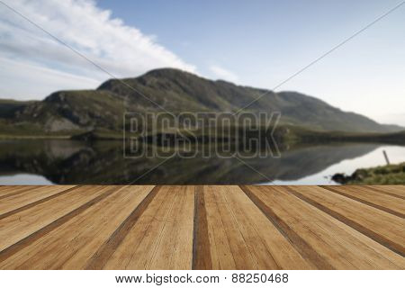 Stunning Mountain And Lake Sunrise Reflections Beautiful Landscape With Wooden Planks Floor