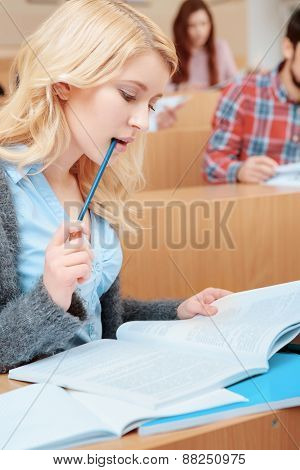 Female student learning