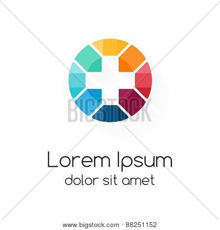 Plus sign logo template. Medical healthcare symbol. Abstract concept of hospital or medicine doctor.