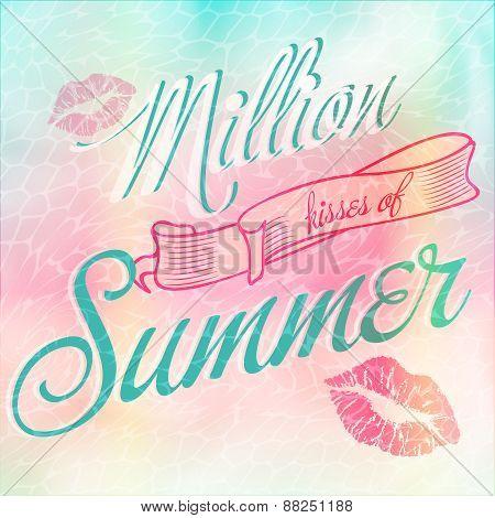 Million Kisses of Summer typographic design