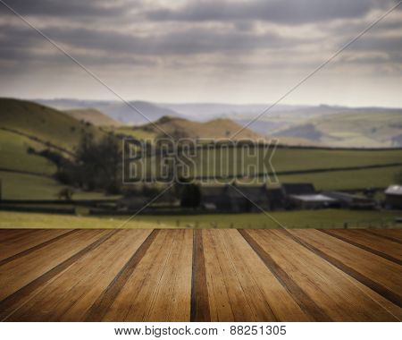 Beautiful Sunny Landscape Of Peak District In Uk With Famous Stone Walls Concept Image