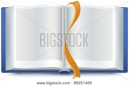 Blue open book with a bookmark