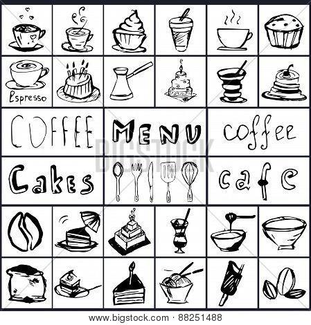 Vector Set On A Coffee Theme.