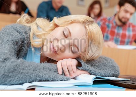 Student falls asleep in class
