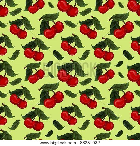 Seamless texture - bright juicy fresh cherry fruit vector.