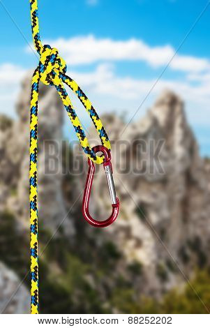 Climbing Carabiner On The Rope