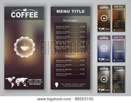 Design Coffee Menu With Blurred Background