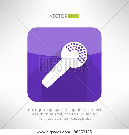 Microphone icon in modern flat design. Clean and simple mic sign with long shadow. Vector illustrati
