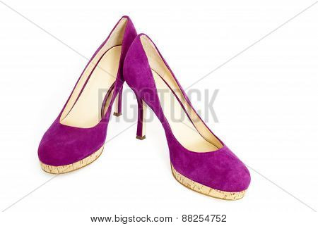 Pair of Purple High Heels, Isolated on White Background