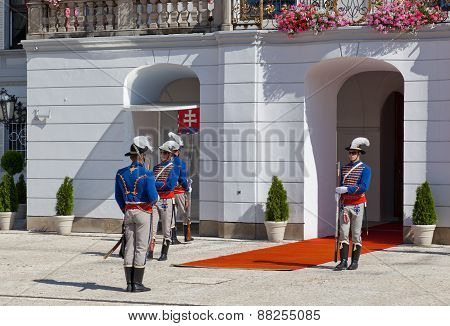 Change Of A Guard Of Honor At Presidential Palace In Bratislava