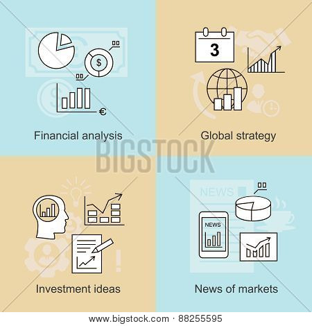 Business concepts. News of markets, investment ideas and financial analysis.  illustration
