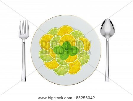 Mint, Lemon And Lime Slices On Plate, Spoon And Fork Isolated On White