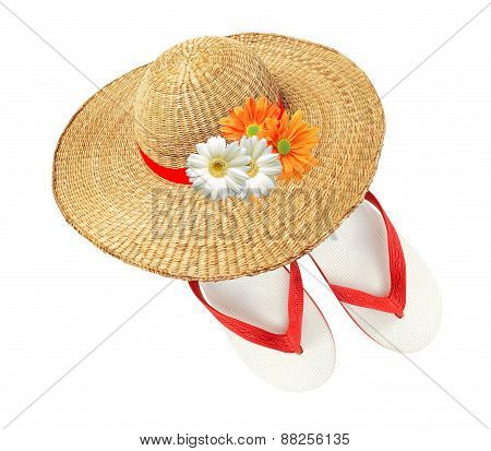 Woman Hat With Flowers And Flip Flops Isolated On White Background