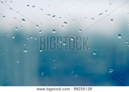 Mirror With Rain Drop In Building  Background