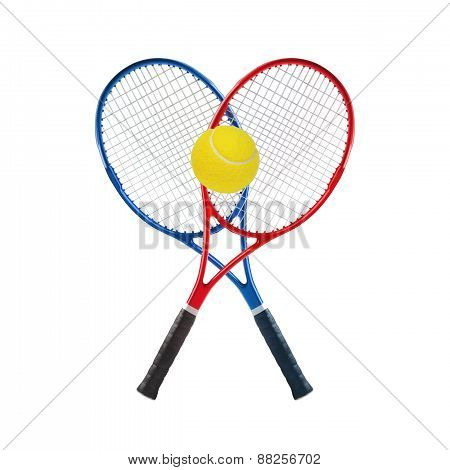 Blue And Red Tennis Rackets And Ball Isolated White Background