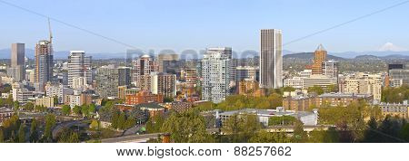 Portland City Buildings Panorama Oregon.