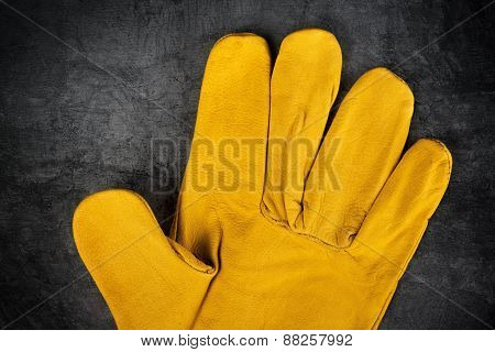 Leather Construction Work Gloves Detail