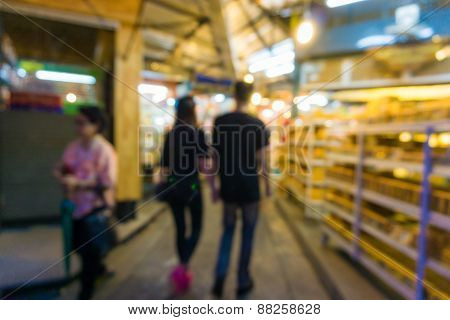 Abstract Blurred People Shopping At Jatujak Market