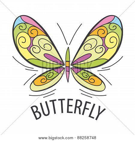 Vector Logo Graceful Butterfly Flies