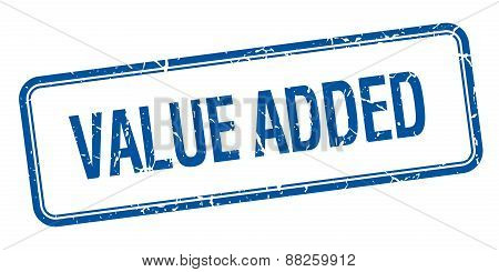 Value Added Blue Square Grungy Vintage Isolated Stamp