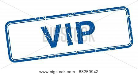 Vip Blue Square Grungy Vintage Isolated Stamp