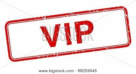 Vip Red Square Grungy Vintage Isolated Stamp