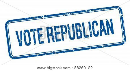 Vote Republican Blue Square Grungy Vintage Isolated Stamp