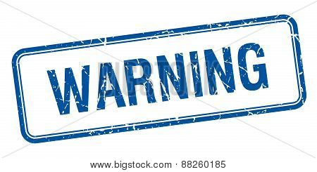 Warning Blue Square Grungy Vintage Isolated Stamp