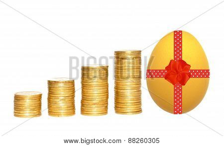 Columns Of Gold Coins And Easter Egg With Red Ribbon Over White Background