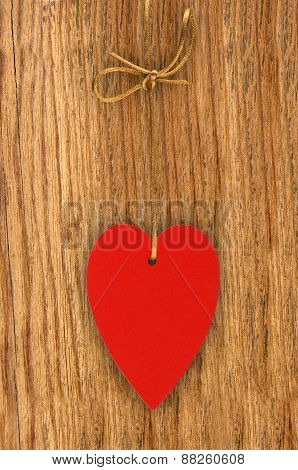 Love Heart Hanging On Wooden Texture Background, Valentines Day Card Concept