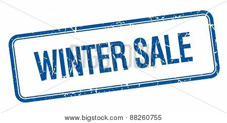 Winter Sale Blue Square Grungy Vintage Isolated Stamp