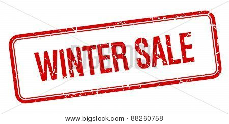Winter Sale Red Square Grungy Vintage Isolated Stamp