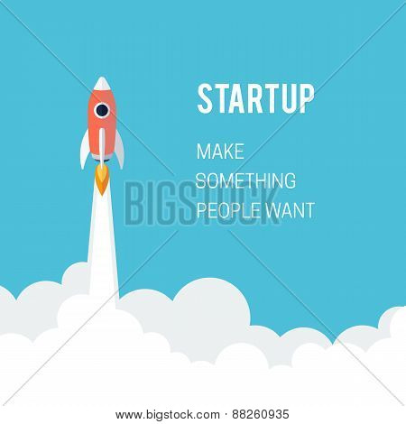 Flat designt business startup launch concept.
