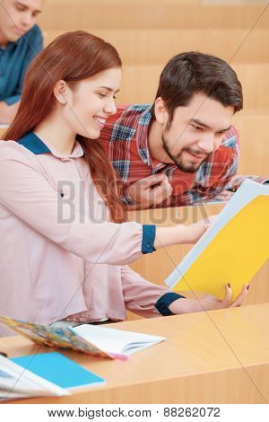 Students interact in class