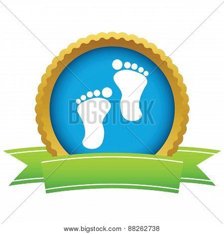 Gold foot steps logo