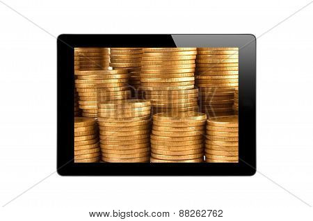 Black Touch Screen Tablet And Golden Coins